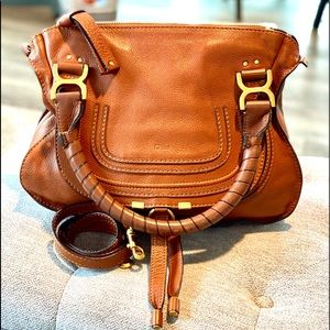Chloe Marcie Tan Medium 2Way Crossbody Satchel